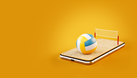 Unusual 3d illustration of a volleyball ball and on court on a smartphone screen. Watching beach volleyball and betting online concept