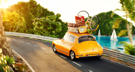 Cute little retro car with suitcases and bicycle on top goes by the road along the beautiful harbor between the mountains in summer day. Unusual 3d illustration. Travel and vacation concept