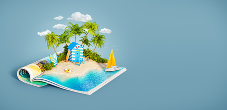 Beach hut at tropical jungle on a sand beach of beautiful island on opened pages of magazine in summer day. Unusual 3d illustration. Travel and vacation concept Фото со стока - 99396779