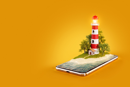 Unusual 3d illustration of a Lighthouse on a smartphone screen. Travel and vacation concept