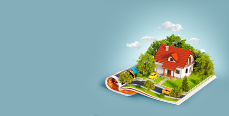 White house of dream with white fence, garden and trees on opened pages of magazine. Unusual 3d illustration. Travel and camping concept
