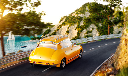 Cute little retro car goes by the road along the beautiful harbor between the mountains in summer day. Unusual 3d illustration. Travel and vacation concept