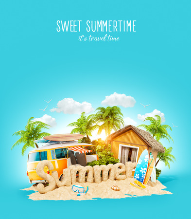 The word Summer made of sand on a tropical island. Unusual 3d illustration of summer vacation. Travel and vacation concept. Stock Photo