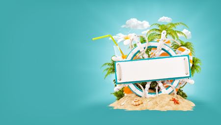 Wooden helm with a blank wooden plank for text on sand. Unusual 3D illustration. Travel and vacation concept.