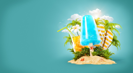 Refreshment ice cream and tropical palm on a paradise island. Unusual travel 3d illustration. Summer vacation and travel concept