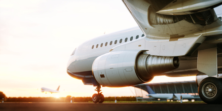 White commercial airplane standing on the airport runway at sunset. Passenger airplane taking off. Airplane concept 3D illustration.