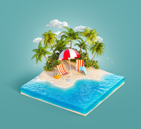 Deck chairs under the beach umbrella on a sand beach of beautiful island on sliced earth block in summer day. Unusual 3d illustration. Travel and vacation concept