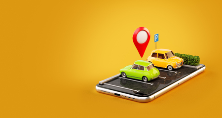 Unusual 3d illustration os smartphone application for online searching free parking place on the map. GPS Navigation. Parking and car sharing concept Imagens - 99396802