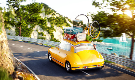 Cute little retro car with suitcases and bicycle on top goes by the road along beautiful harbor between mountains in summer day. Unusual 3d illustration. Travel and vacation concept Stock Photo