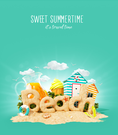 The word Beach made of sand on a cute little tropical island. Unusual 3d illustration of summer vacation. Travel and vacation concept.