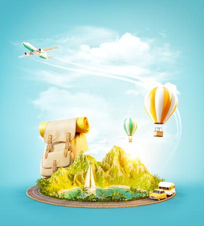 Ungewöhnliche 3d Illustration eines Reittiers mit tropischem Strand und Straße herum. Reise- und Urlaubskonzept.