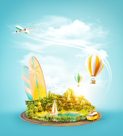 Unusual 3d illustration of a mount with tropical beach and road around. Travel and vacation concept. Stock Photo