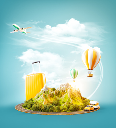 Unusual 3d illustration of a mount with the road around and air balloons above. Travel and vacation concept. Stock fotó