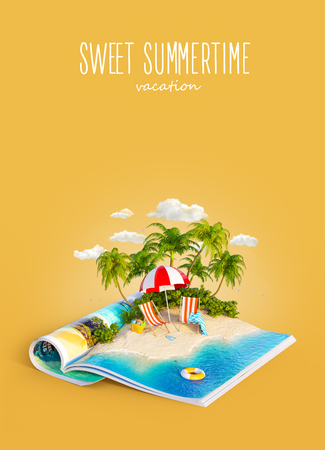 Deck chairs under the beach umbrella on a sand beach of beautiful island on opened pages of magazine in summer day. Unusual 3d illustration. Travel and vacation concept Stock Photo