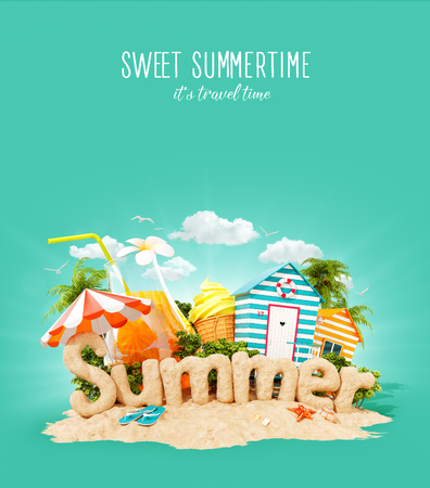 The word Summer made of sand on a cute little tropical island. Unusual 3d illustration of summer vacation. Travel and vacation concept.