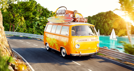 Cute little retro car with suitcases and surf on top. Unusual 3d illustration. Travel and vacation concept