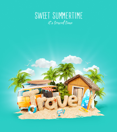 The word Travel made of sand on a cute little tropical island. Unusual 3d illustration of summer vacation. Travel and vacation concept.