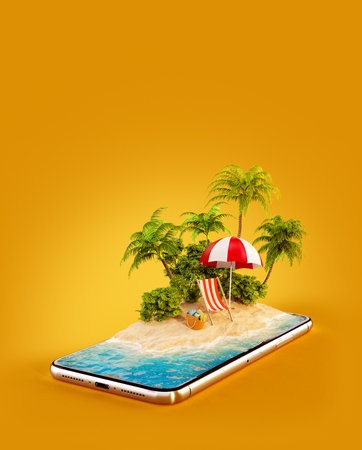 Unusual 3d illustration of a tropical island with palm trees, deckchair and umbrella on a smartphone screen. Travel and vacation concept Stock Photo