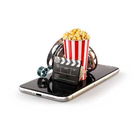 Smartphone application for online buying and booking cinema tickets. Live watching movies and video. Isolated unusual 3D illustration of popcorn, cinema reel, clapper board and tickets on smarthone in hand