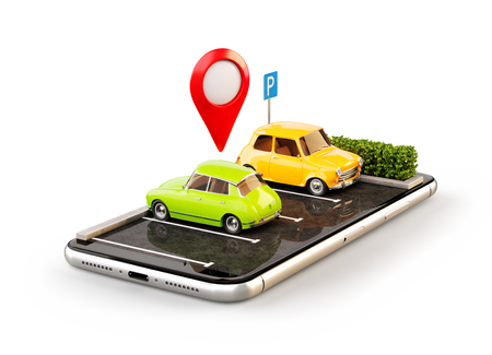 Isolated unusual 3d illustration os smartphone application for online searching free parking place on the map. GPS Navigation. Parking and car sharing concept 写真素材 - 102000359
