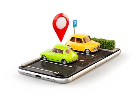 Isolierte ungewöhnliche 3D-Illustration os Smartphone-Anwendung für die Online-Suche freien Parkplatz auf der Karte. GPS Navigation. Park- und Carsharing-Konzept