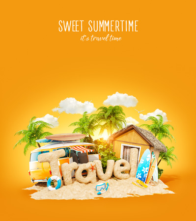 The word Travel made of sand on a tropical island. Unusual 3d illustration of summer vacation. Travel and vacation concept. Stock Photo