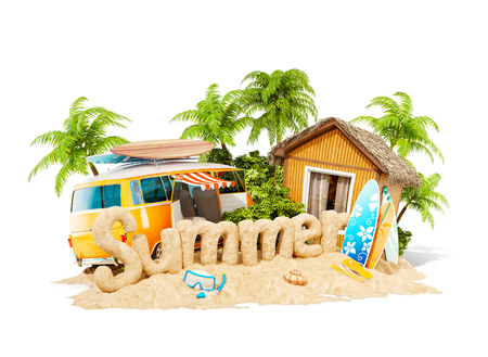 The word Summer made of sand on a tropical island. Unusual 3d illustration of summer vacation. Travel and vacation concept. Isolated