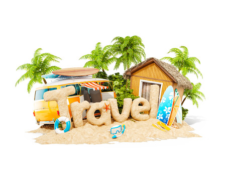 The word Travel made of sand on a tropical island. Unusual 3d illustration of summer vacation. Travel and vacation concept. Isolated Stock Photo