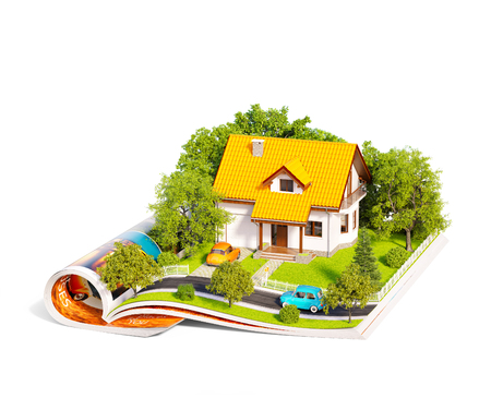 White house of dream with white fence, garden and trees on opened pages of magazine. Unusual 3d illustration. Travel and camping concept. Isolated Stock Photo