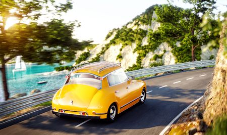 Cute little retro car goes by the road along beautiful harbor between mountain in summer day. Unusual 3d illustration. Travel and vacation concept