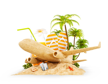 Passenger airplane made of sand and tropical palm on a paradise island. Unusual travel 3d illustration isolated on white. Summer vacation and air travel concept Stock Photo