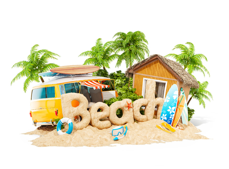 The word Beach made of sand on a tropical island. Unusual 3d illustration of summer vacation. Travel and vacation concept. Isolated 写真素材 - 103437178