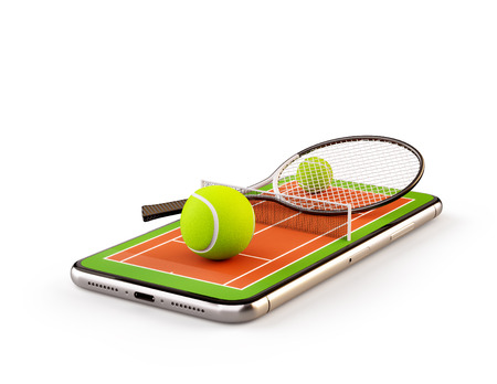 Unusual 3d illustration of a tennis ball and racket on court on a smartphone screen. Watching tennis and betting online concept. Isolated Stock Photo