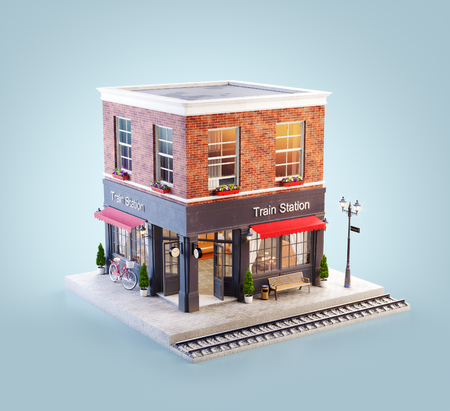 Unusual 3d illustration of a train station building and platform with bench under awning