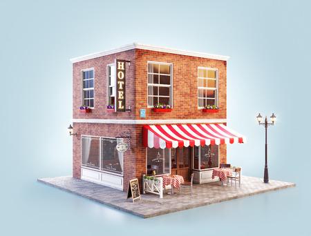 Ongebruikelijke 3D-afbeelding van een gezellig café-, coffeeshop- of koffiehuisgebouw met gestreepte luifel en buitentafels Stockfoto