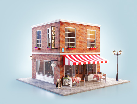 Unusual 3d illustration of a cozy cafe, coffee shop or coffeehouse building with striped awning and outdoor tables 免版税图像