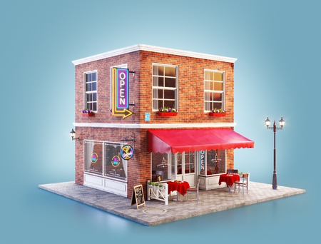 Unusual 3d illustration of a cafe, pub or bar building with red awning, neon signs and outdoor tables Banco de Imagens