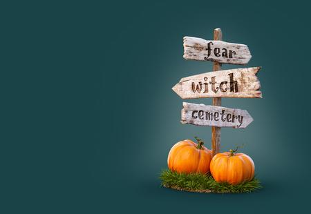Halloween pumpkins under old wooden pointer. Unusual 3d illustration. Halloween concept. Stock Photo