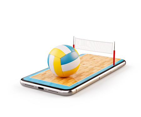 Unusual 3d illustration of a volleyball ball and on court on a smartphone screen. Watching beach volleyball and betting online concept. Isolated Stock Photo