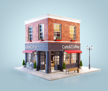 Unusual 3d illustration of a cozy cafe, coffee shop or coffeehouse building with red awning 스톡 콘텐츠