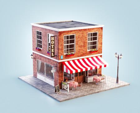 Illustration 3d inhabituelle d'un café confortable, d'un café ou d'un café avec auvent rayé et tables extérieures