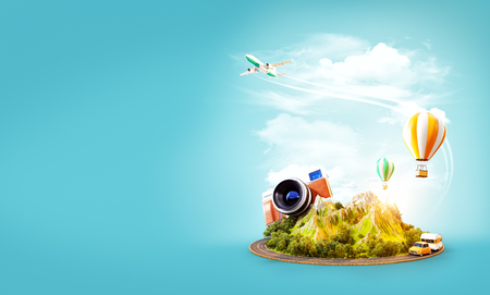 Unusual 3d illustration of a mount with the road around and air balloons above. Travel and vacation concept. Stock Photo