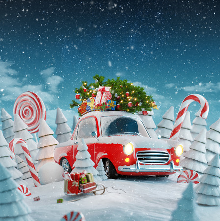 Red Santas car with gift boxes and christmas tree on the top in a magical forest. Merry Christmas and a Happy New Year concept. Unusual christmas 3d illustration. Stock Photo