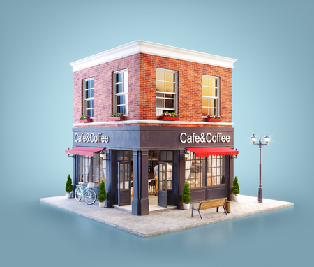 Unusual 3d illustration of a cozy cafe, coffee shop or coffeehouse building with red awning Stock Photo
