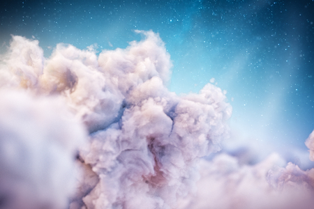 Over the Clouds. Unusual 3d illustration of Fantastic clouds