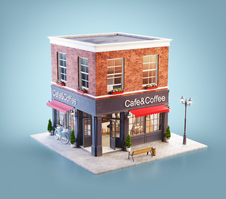 Unusual 3d illustration of a cozy cafe, coffee shop or coffeehouse building with red awning Banco de Imagens