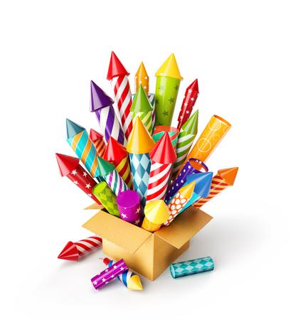 Ilustración 3d inusual de cohetes de fuegos artificiales de colores brillantes en una caja. Concepto de celebración de vacaciones y Navidad. Aislado en blanco
