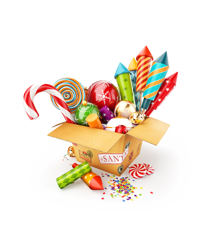 Unusual 3d illustration of a box full of christmas toys, candies and bright colorful fireworks rockets. Merry Christmas and a Happy New Year celebration concept. Isolated Stock Photo