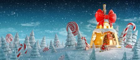 Erstaunliches Feenhaus, das zu Weihnachten in Form einer Weihnachtsglocke mit rotem Band und Weihnachtsbeleuchtung im magischen Wald mit Zuckerstangen dekoriert ist. Ungewöhnliche Weihnachtspostkarte der Illustration 3d.