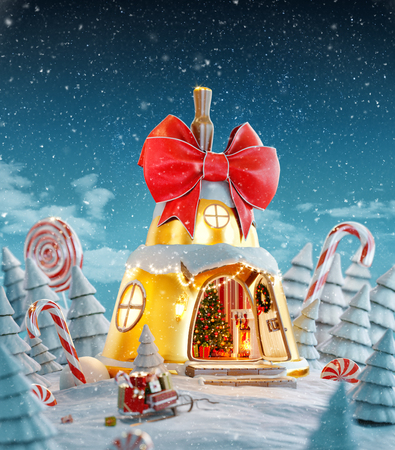 Amazing fairy house decorated at christmas in shape of christmas bell with red ribbon and christmas lights in magical forest with candy canes. Unusual christmas 3d illustration postcard.